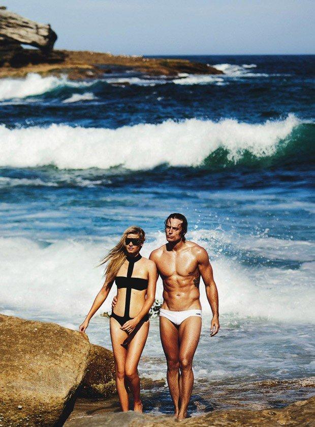 Лара Стоун снялась в компании Дэвида Гената для Vogue Australia