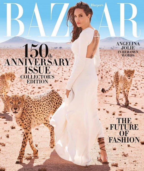 Анджелина Джоли приняла участие в необычной фотосессии с хищниками
