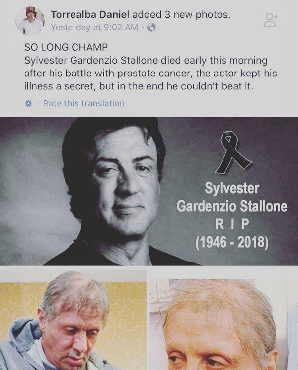 Новость о смерти Сильвестра Сталлоне взволновала его фанатов