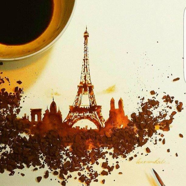 Творчество из кофе: мужчина рисует звёзд и города зёрнами бодрящего напитка