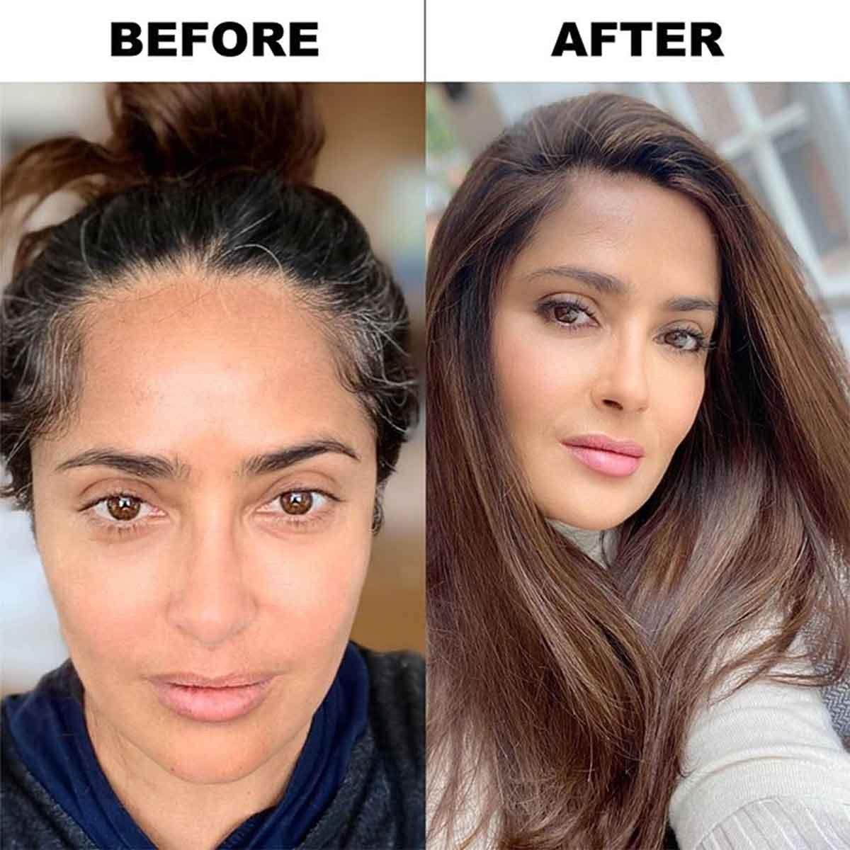 Сальма Хайек показала седину и лицо без капли макияжа